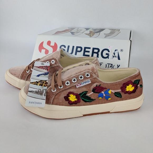 1ffb535f4ef5 Superga Shoes | 2750 Flower Embroidered Velvet Sneaker | Poshmark